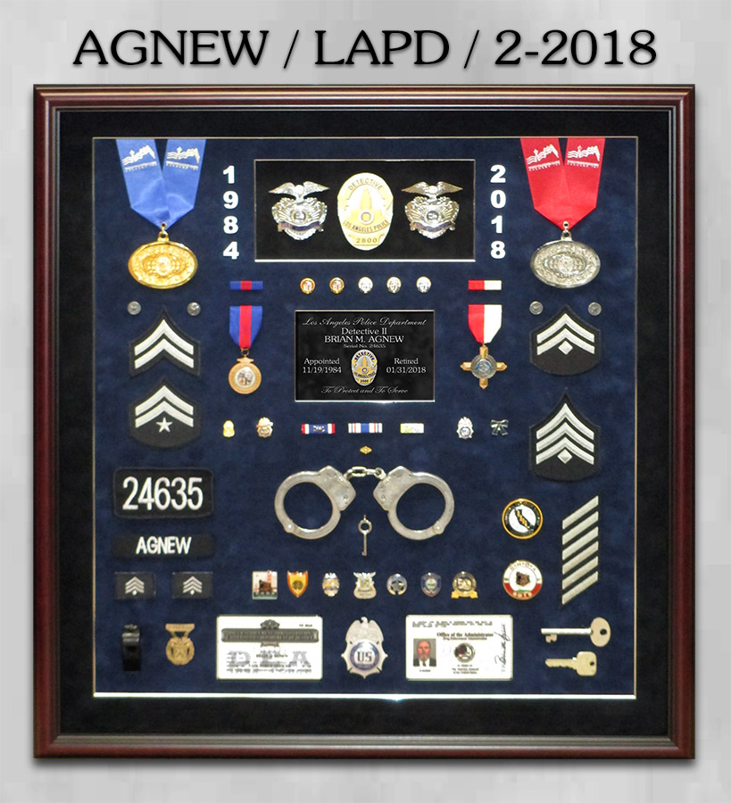Agnew / LAPD Retirement Shadowbox from Badge Frame