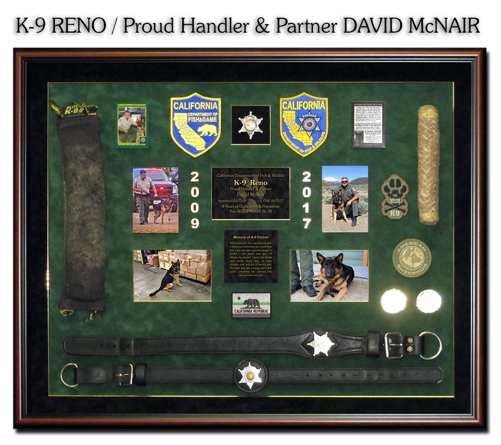 CA Dept of Fish & Wildlife K-9 Reno and Handler David           McNair presentation from Badge Frame