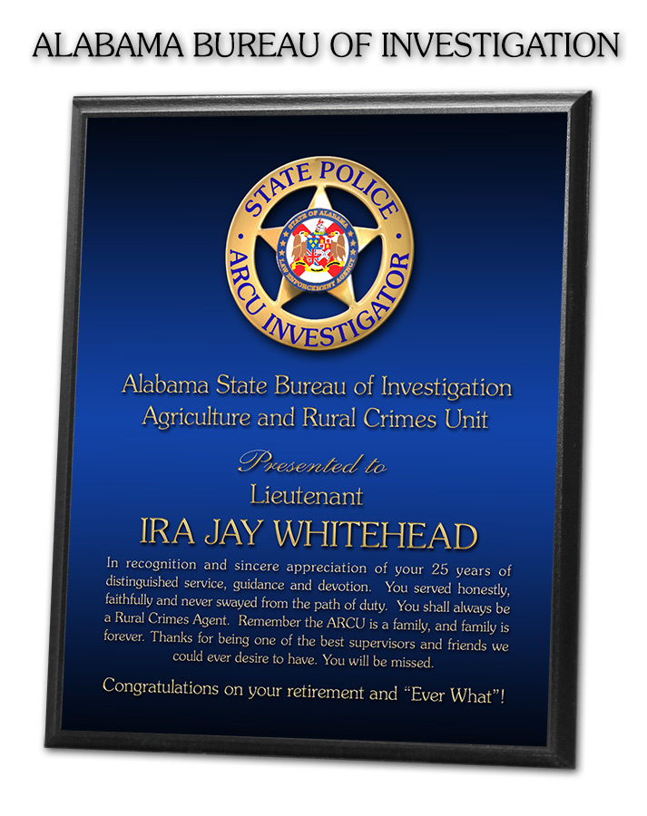 Alabama Bureau of Investigation - Recognition plaque from Badge Frame