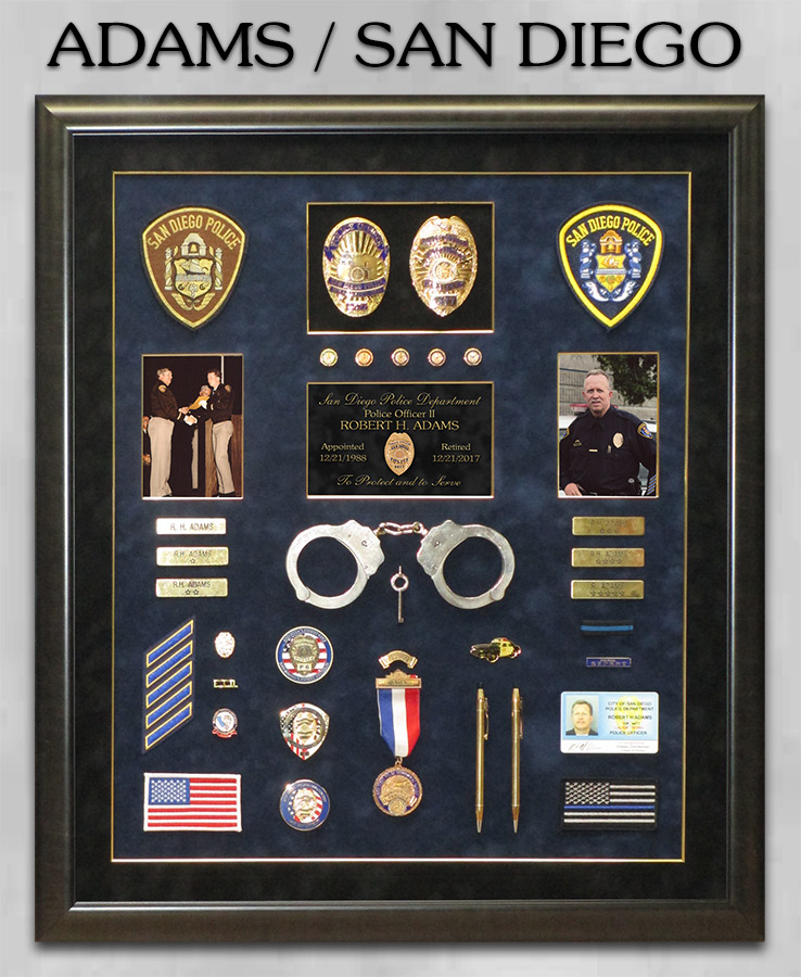Adams / San Diego PD retirement from badge frame