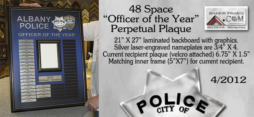 Albany, CA - Officer of the Year - Perpetual Plaque