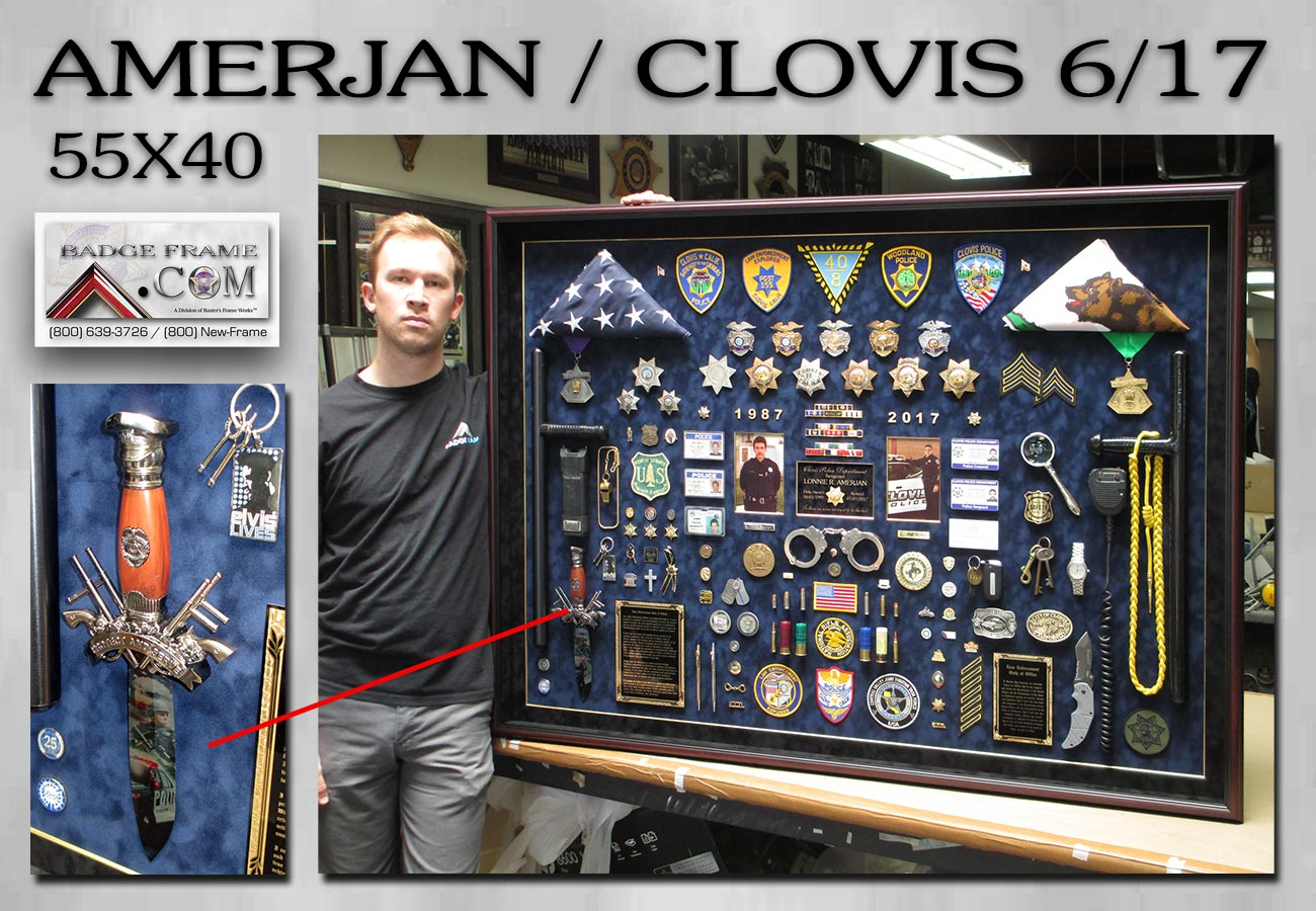 Amerjan -             Clovis PD Police Retirement Shadowbox from Badge Frame