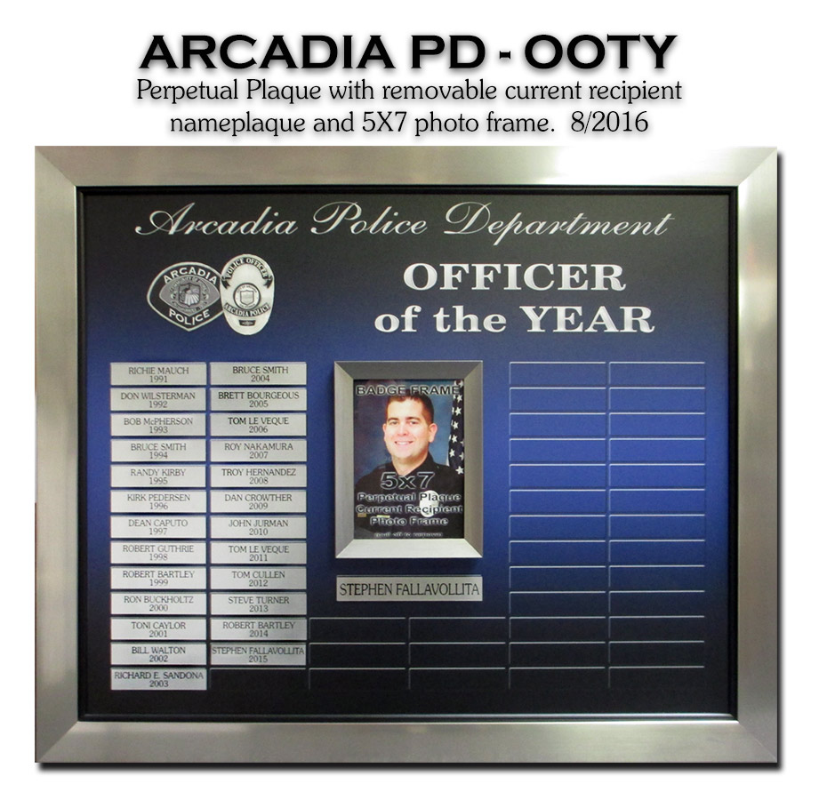 Arcadis PD - Officer of the Year Perpetual Plaque               from Badge Frame
