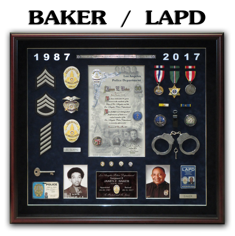 Baker / LAPD - Police Retirement Shadowbox from Badge Frame