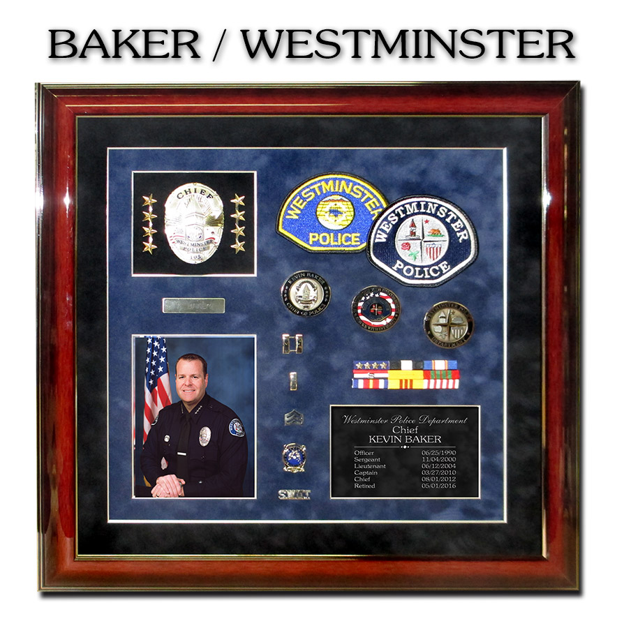 Chief Baker - Westminster PD             Retirement Presentation from Badge Frame