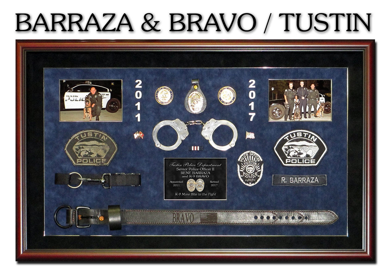 K-9 Shadowbox by Badge Frame for Barraza & Bravo - Tustin PD