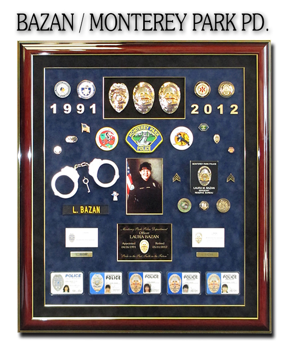 Bazan - Monterey Park PD shadowbox from Badge Frame