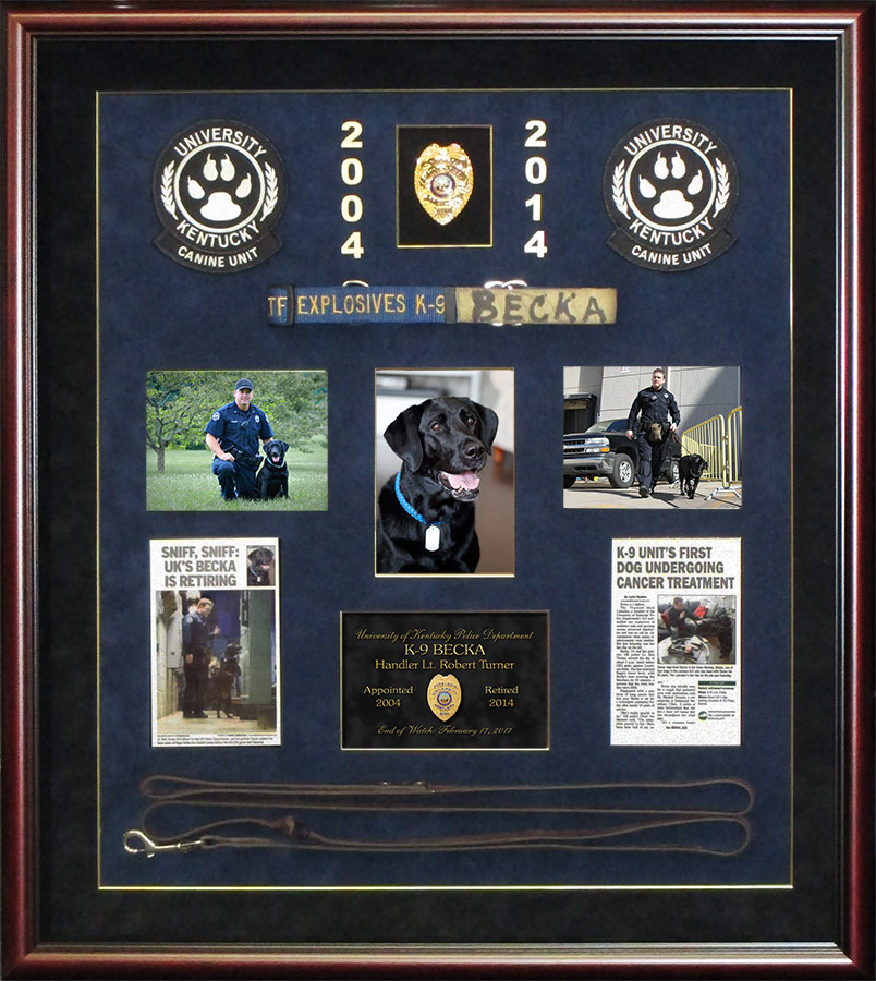 K-9 Police Shadowbox for Handler Robert Turner and K-9 Becka from Badge Frame