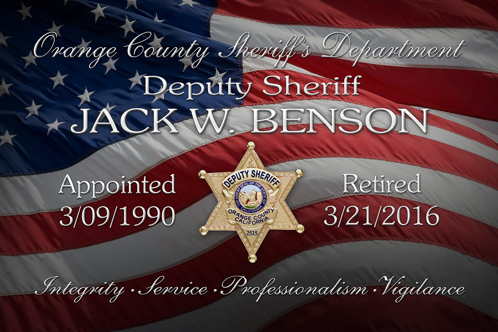 Jack Benson Plaque for Badge           Frame Shadowbox