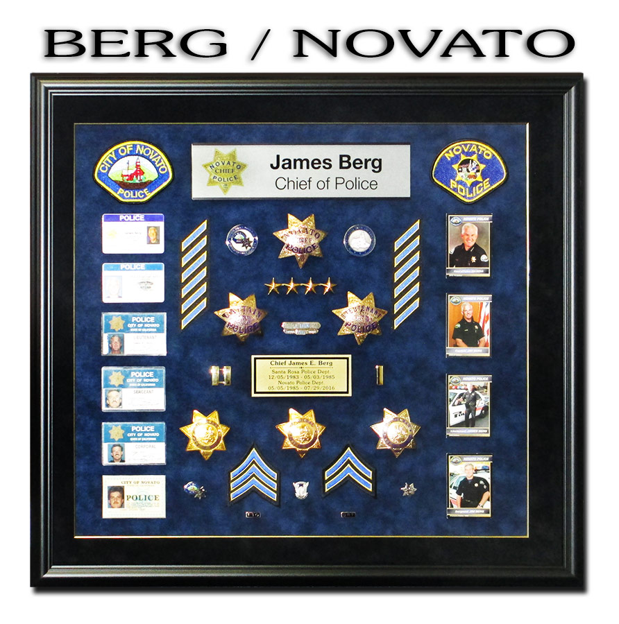 Police Chief Berg from Novato presentation shadowbox from Badge Frame