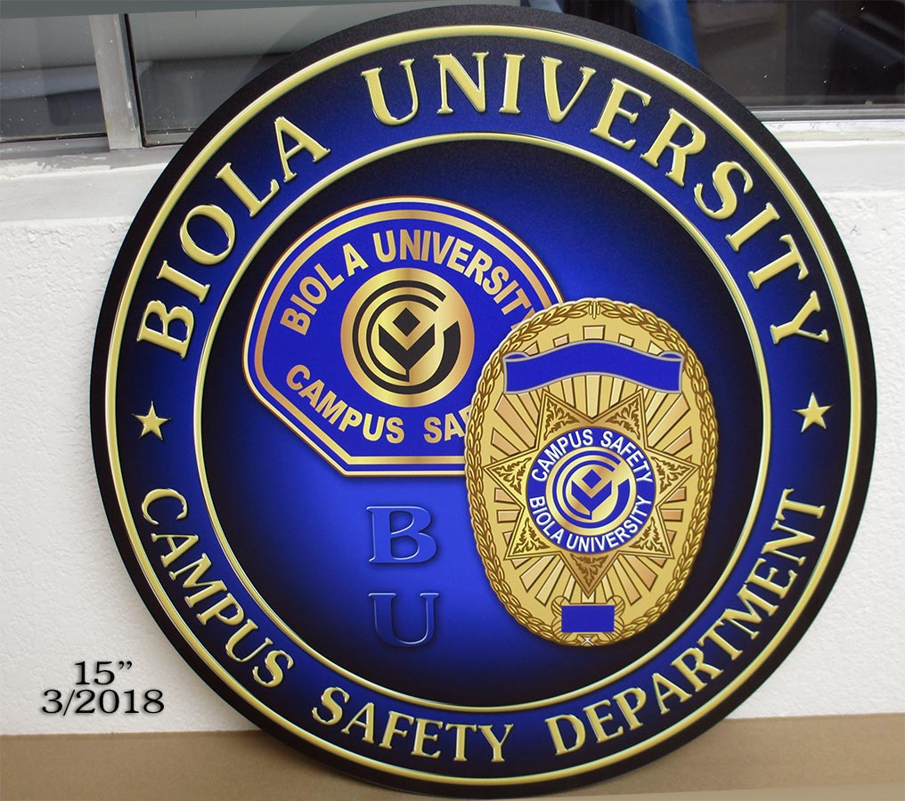 Biola University PD Podium Emblem from Badge Frame
