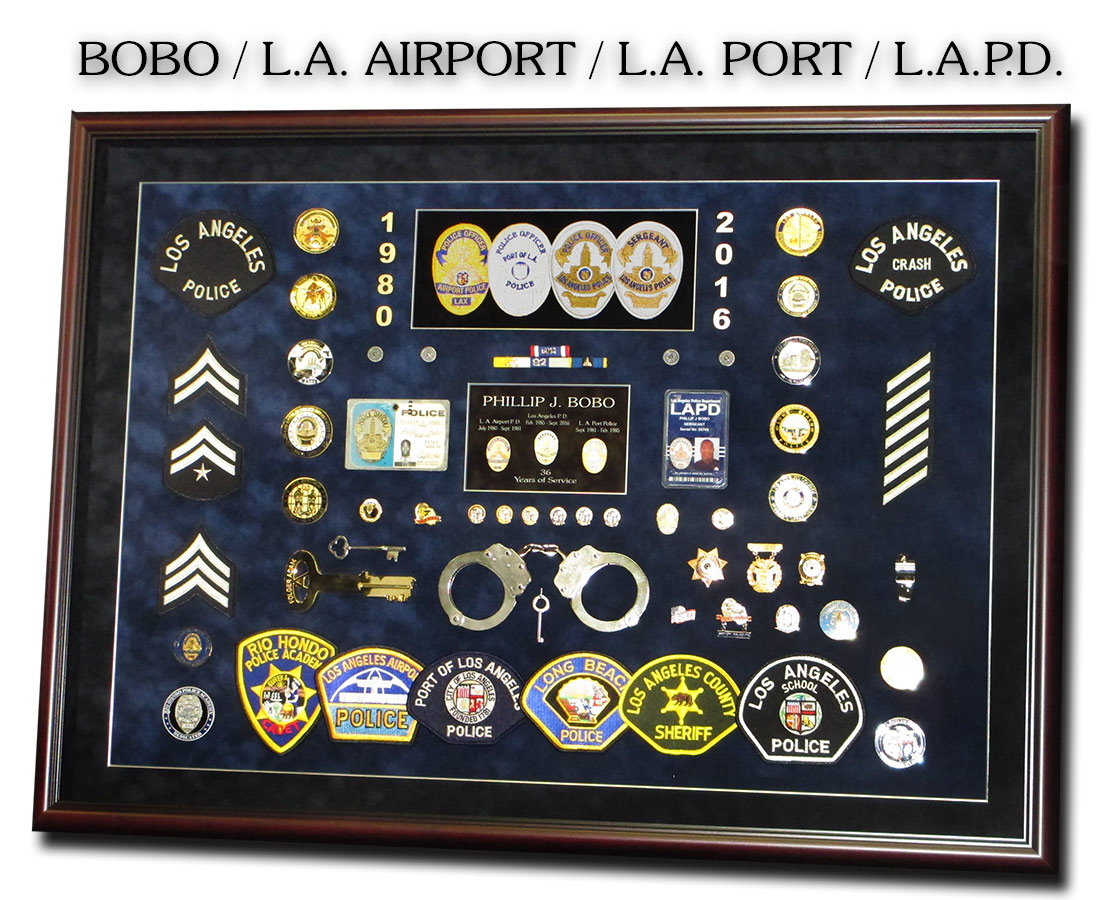 Bobo - LAPD - LA Port PD - LA Airport PD  Police Shadowbox from Badge Frame 10/2106