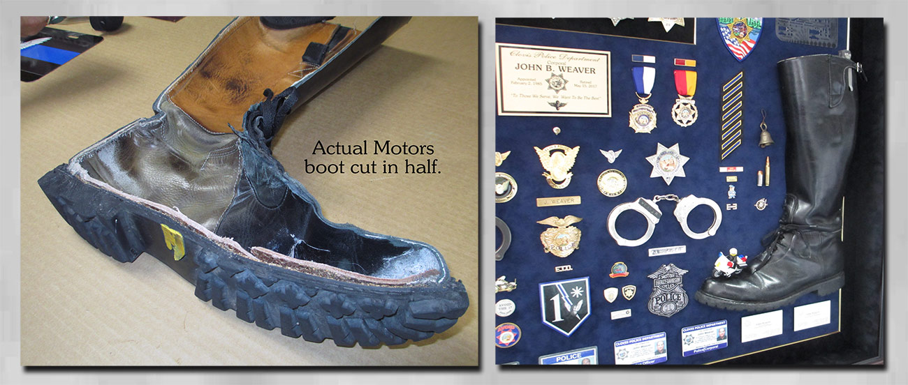 Police             Shadowbox for Weaver - Clovis PD with actual boot from Badge             Frame