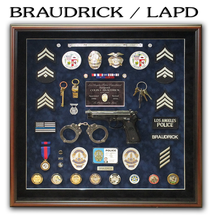 LAPD - Braudrick Police Retirement Shadowbox from Badge Frame
