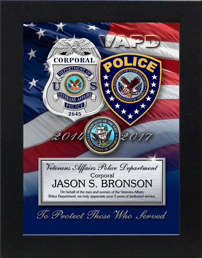 Bronson - Veteran's Affairs PD           Recognition Presentation from Badge Frame.
