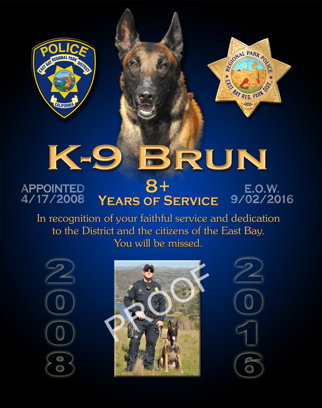 East           Bay Regional Park District - K9 Burn E.O.W. recognition plaque           from Badge Frame
