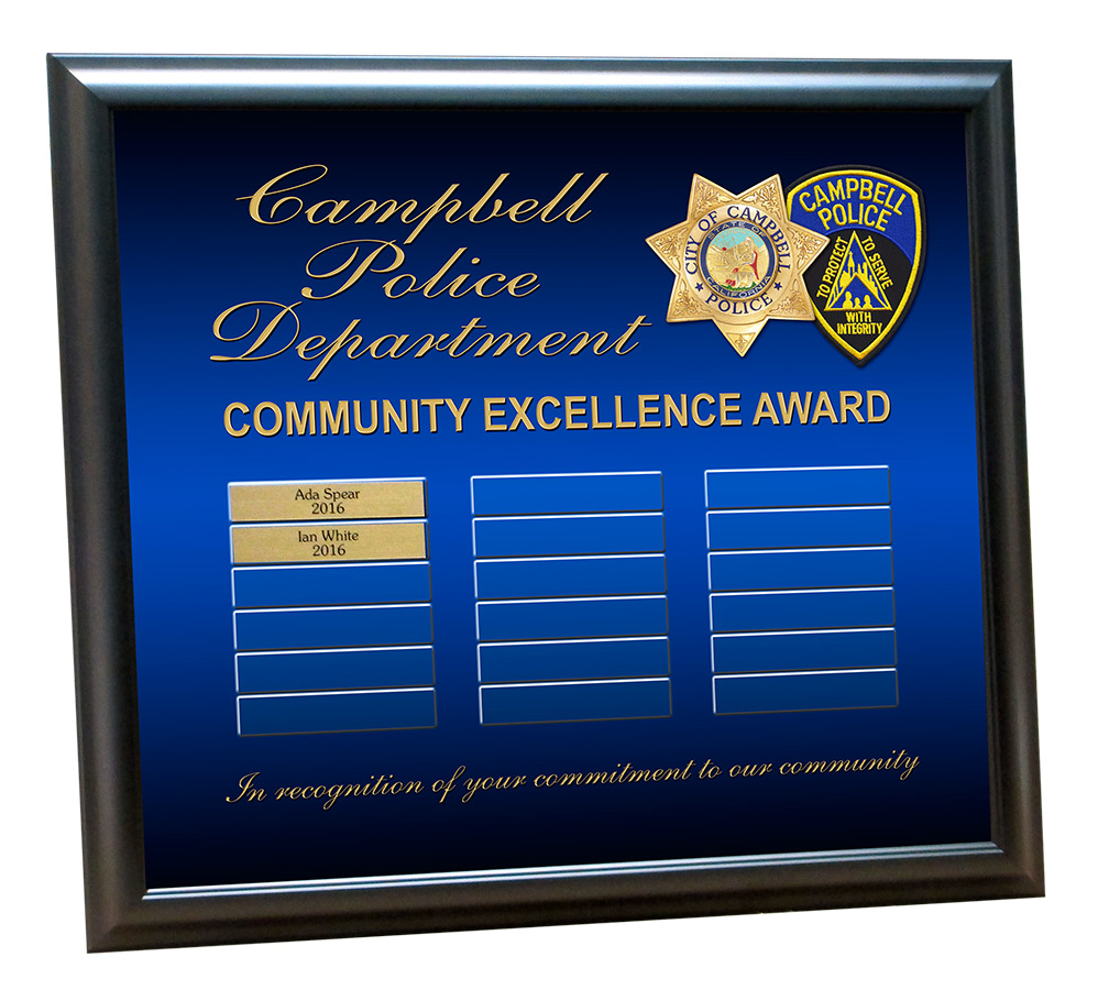 Campbell           PD Perpetual Plaque from Badge Frame