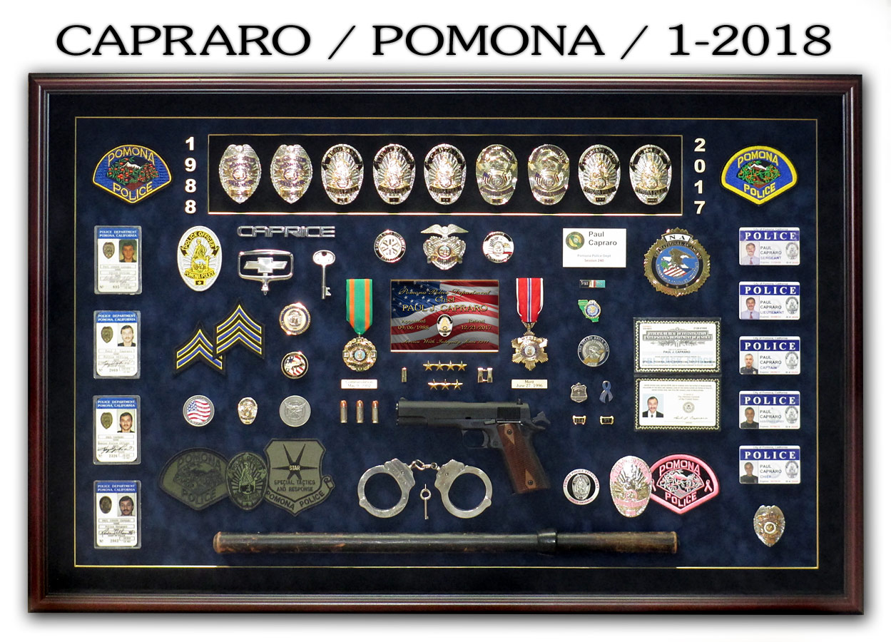 Capraro / Pomona PD Chief shadowbox presentation from Badge Frame