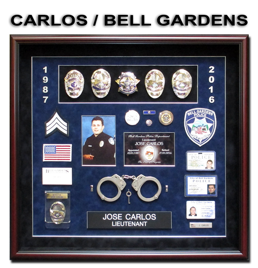 Carlos - Bell Gardens PD - Police             Retirement Presentation from Badge Frame