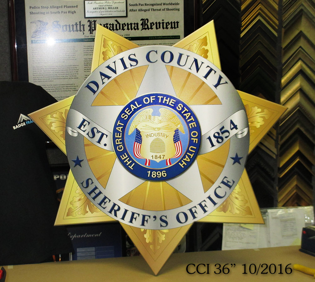 Davis County Sheriff Badge from           Badge Frame for CCI 10/2016