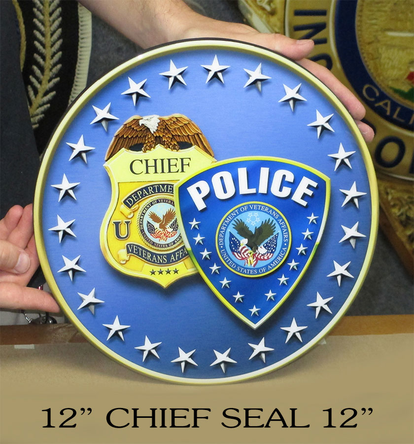 Department of Veteran's Affairs Chief Seal from Badge             Frame