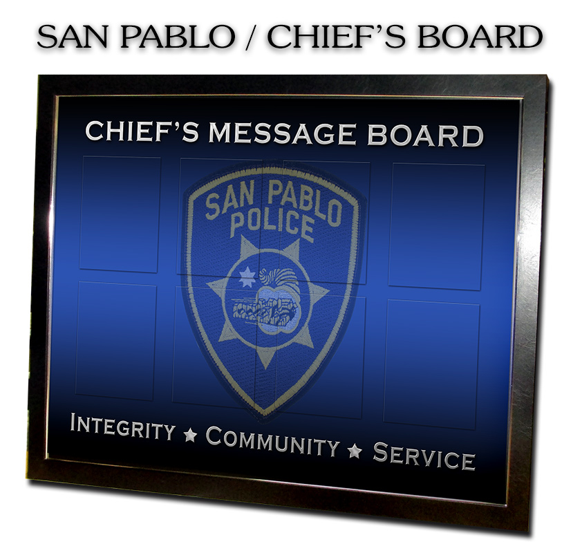 Badge Frame,                       Chiefs Message Board, Magnetic Chart