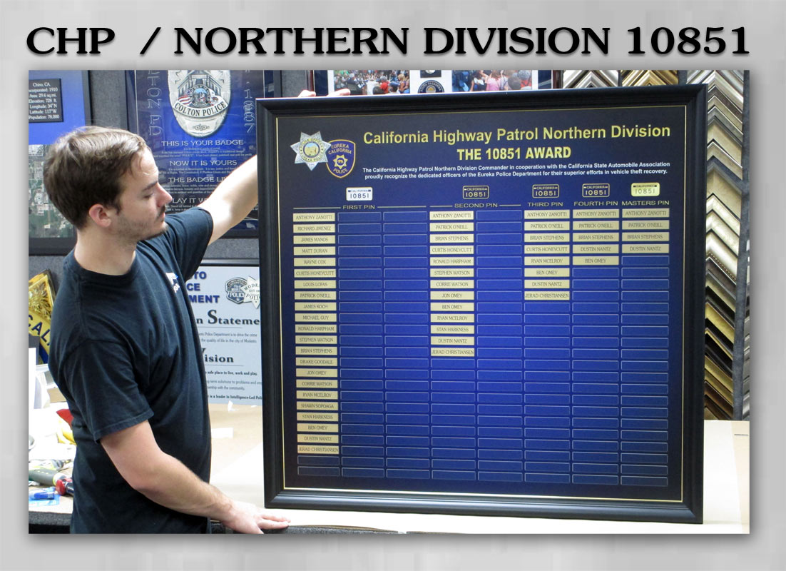 CHP Northern Division Perpetual Plaque 10851 from Badge           Frame