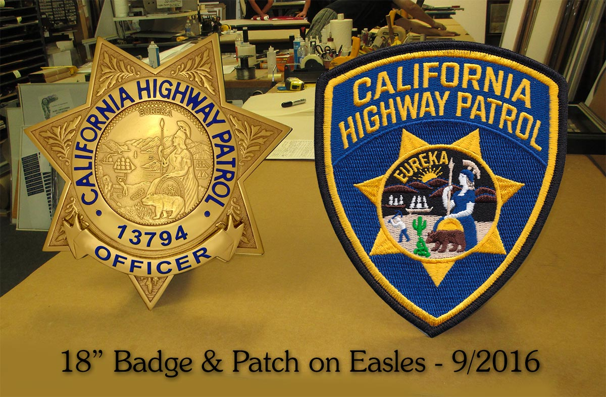CHP Badge & Patch           with easle backs for shelf presentation from Badge Frame           9/2016