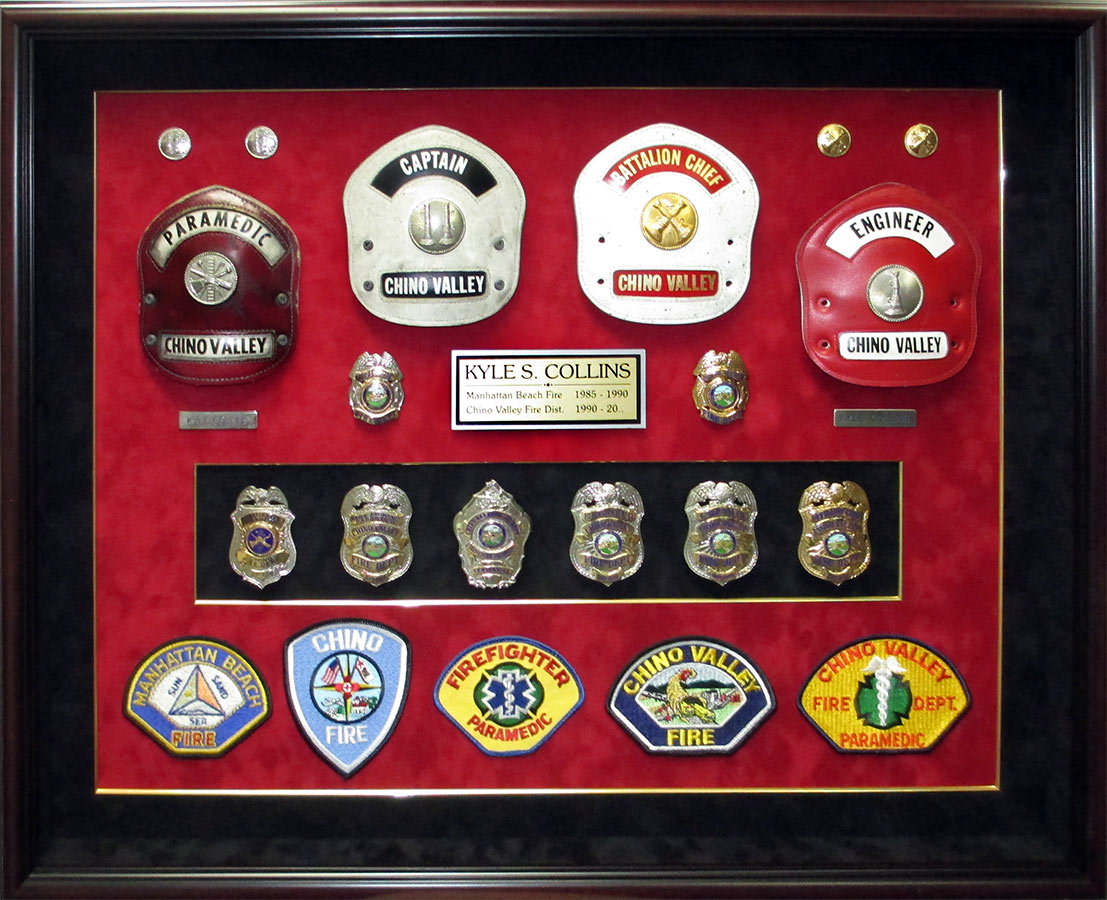 Collins           - Chino Valley Fire - Retirement Shadowbox from Badge Frame