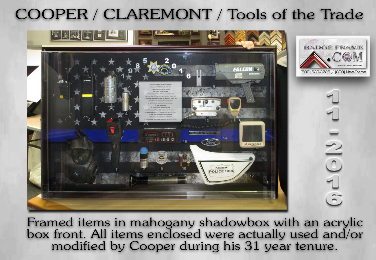 Cooper - Claremont PD - Tools of the Trade - Badge Frame 2016