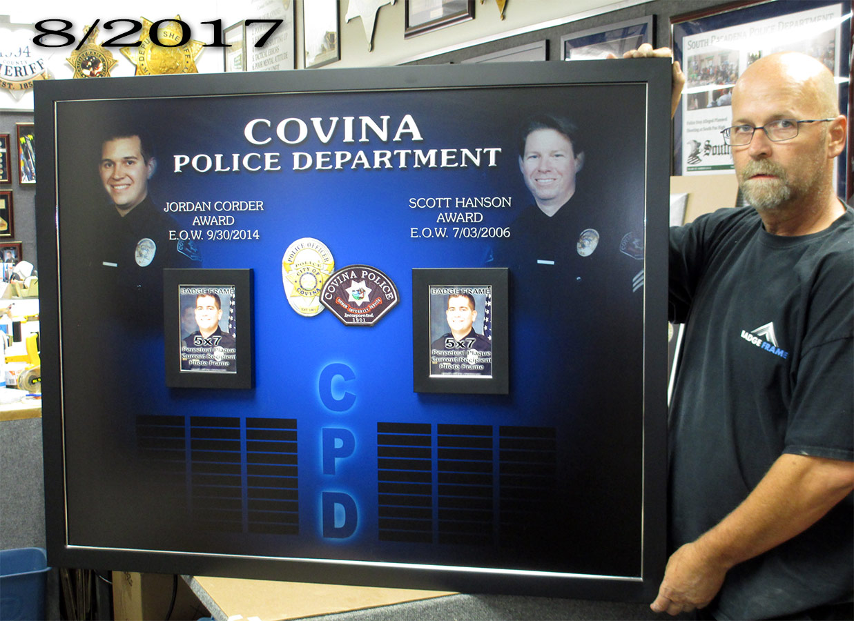 Covina PD Perpetual Plaque - Jordon Corder and Scott           Hanson awards from Badge Frame