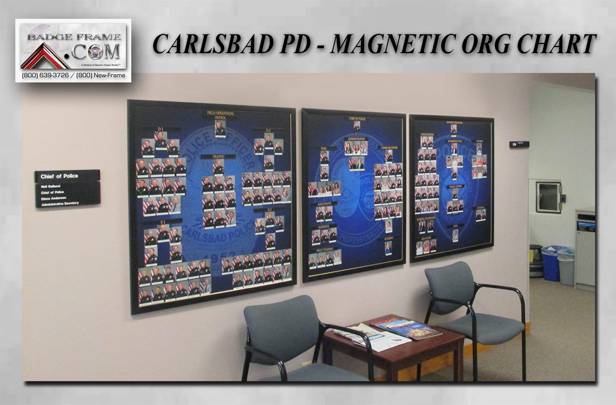 Carlsbad PD - Magnetic Org Chart from Badge Frame