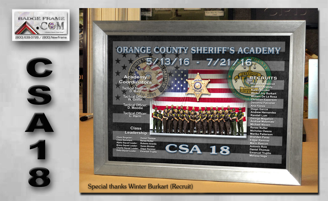 Orange County Sheriff's Academy Class CSA18 presentation from Badge Frame