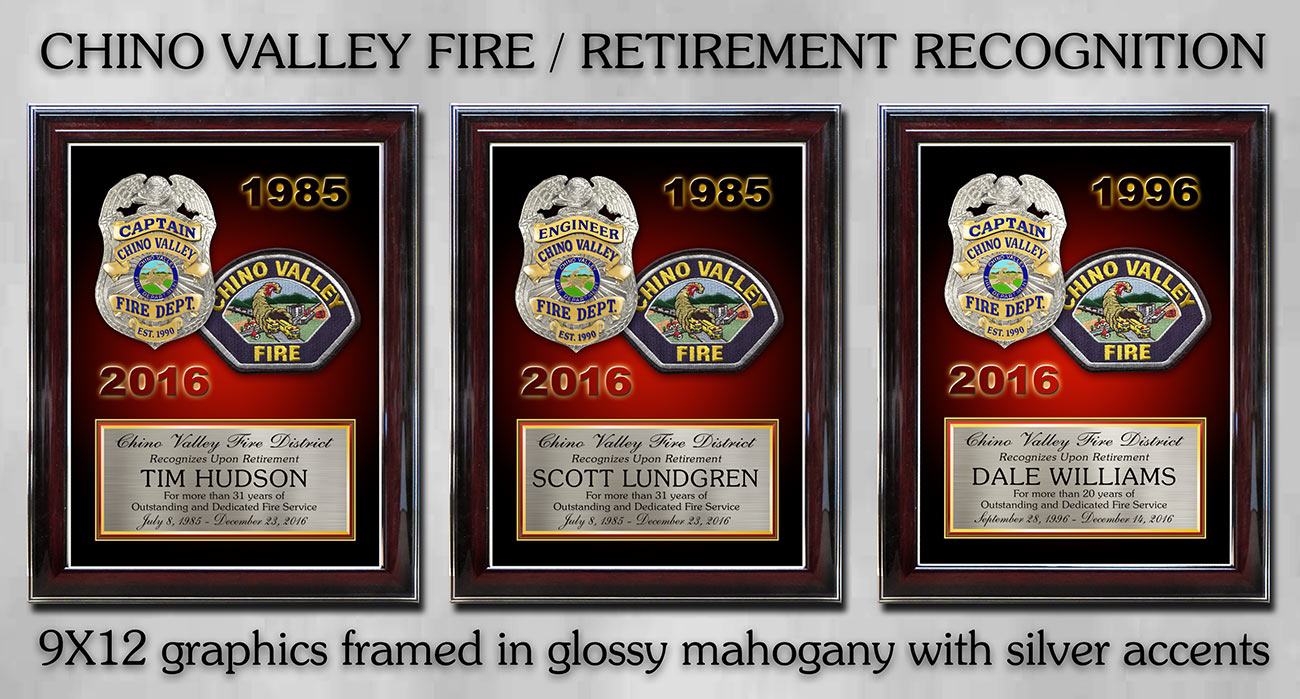 Chino Valley Fire Recognition Plaques framed from Badge Frame