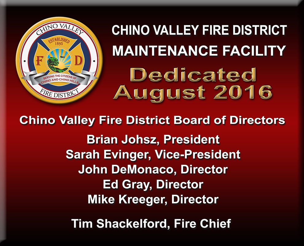 Chino Valley Fire Station Sign from Badge Frame