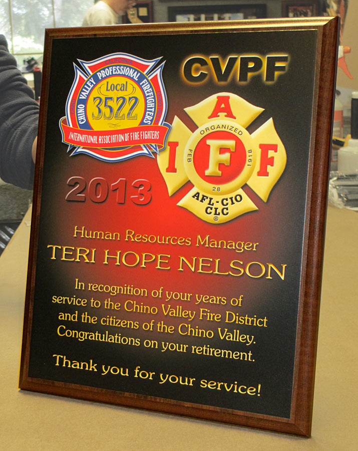 Chino               Valley Fire Dept. Recognition plaque