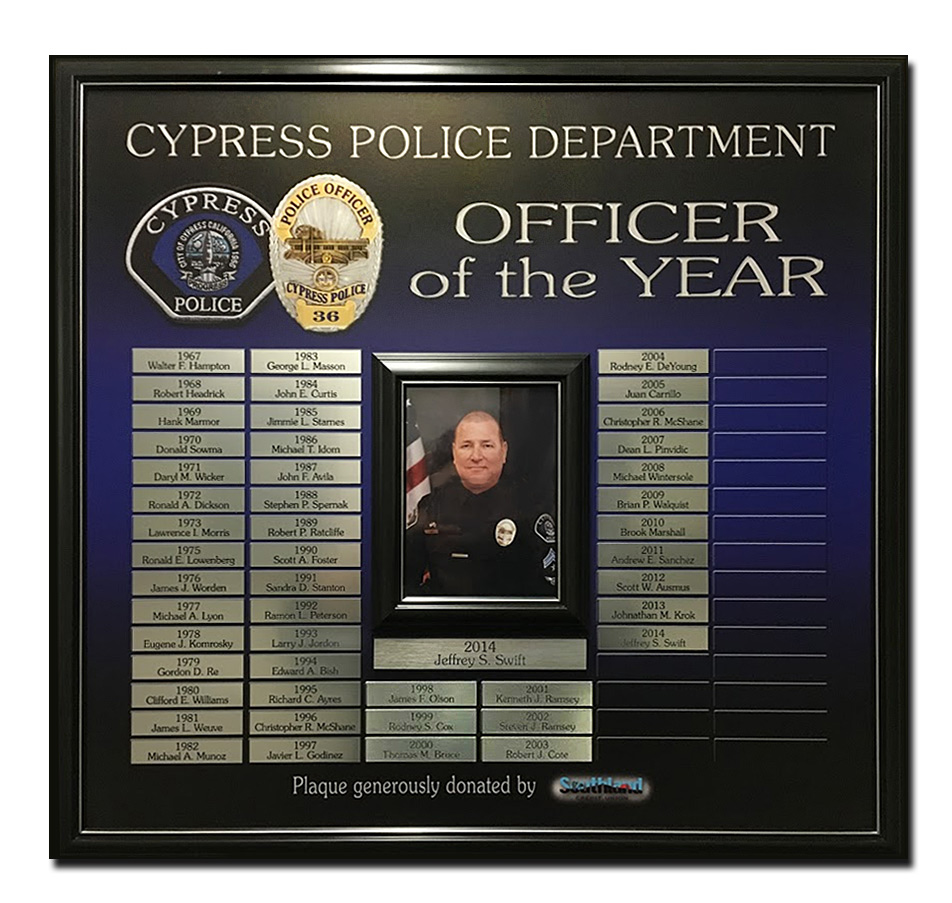 Cypress PD - Officer of the Year Perpetual Plaque from           Badge Frame