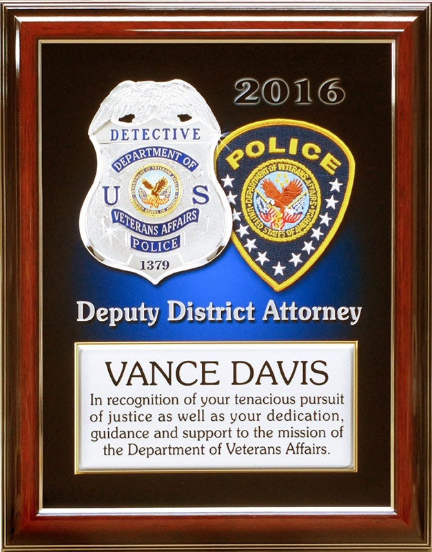 davis, vapd, badge frame, recognition                            plaque