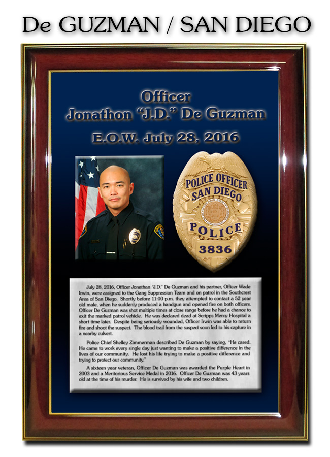 De Guzman - San Diego PD E.O.W. presentation from Badge           Frame 8/2016