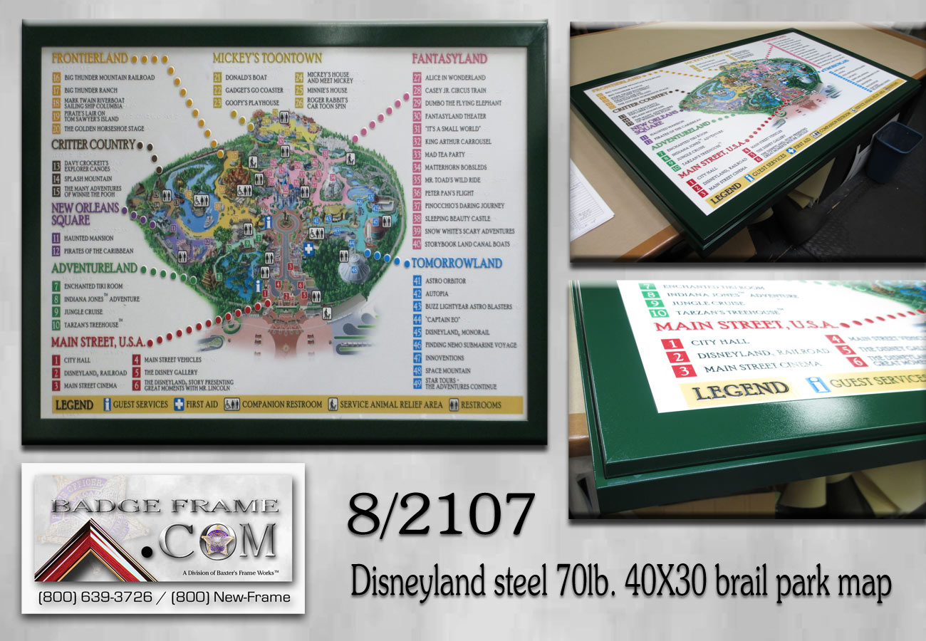 Disneyland Brail Park Map - Framed by Badge Frame