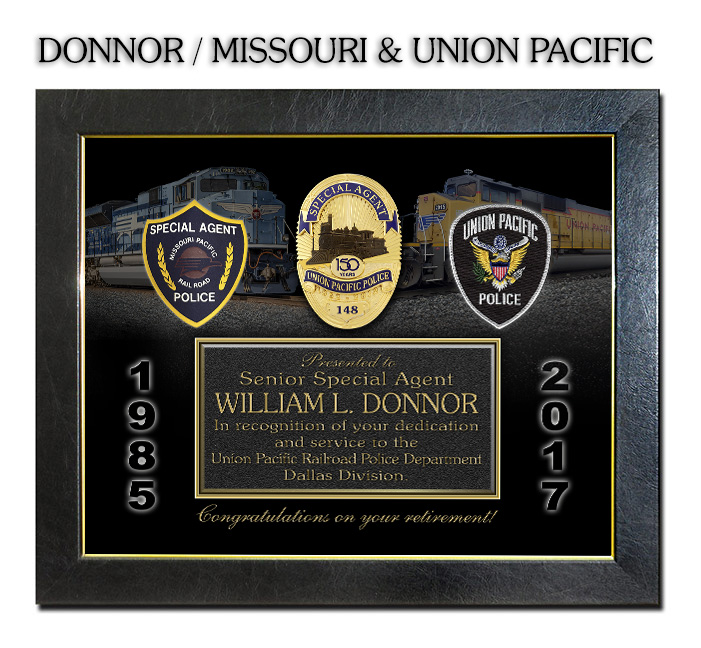 Donnor - Missouri Pacific and Union Pacific Railroad Recognition Plaque from Badge frame