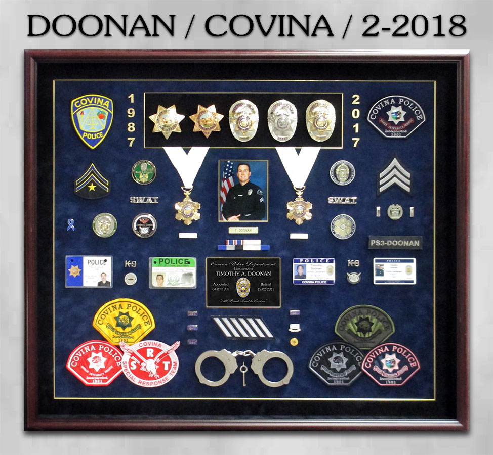 Doonan / Covina Police Department Retirement Presentation fom Badge Frame