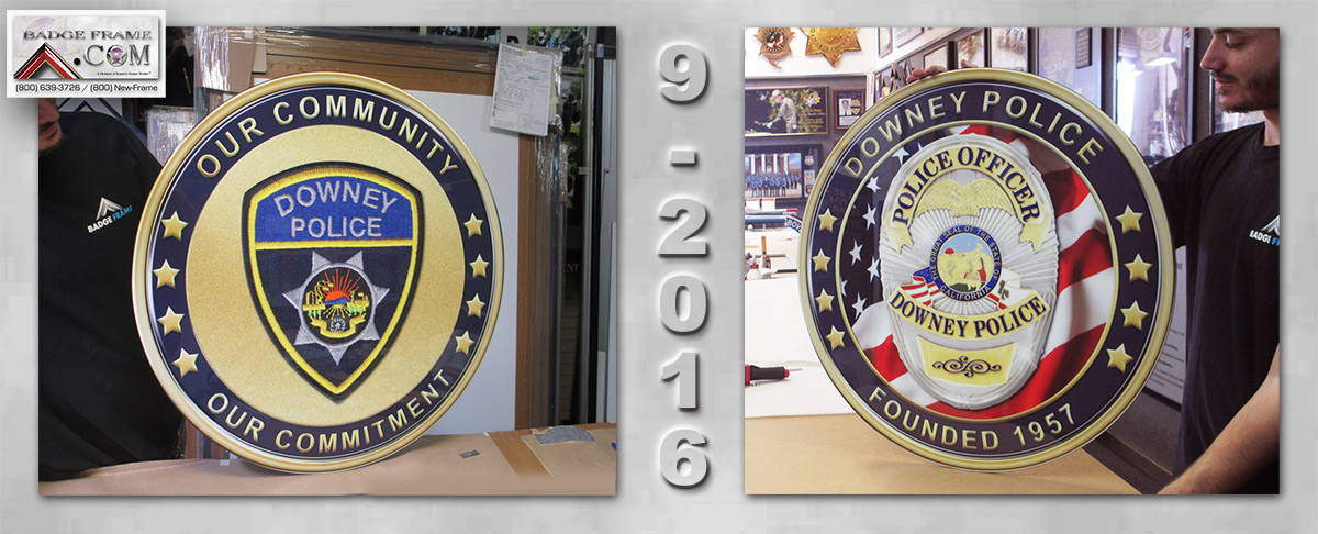 Downey PD Challenge Coins Reproductions from Badge Frame 9-2106
