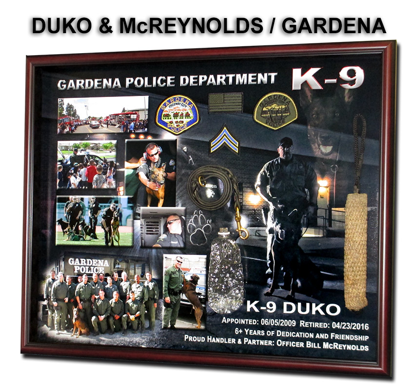 Gardena PD, k9 duko and mcreynolds           presentation from badge frame