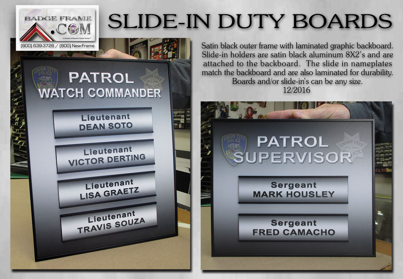 On           Duty boards from Badge Frame