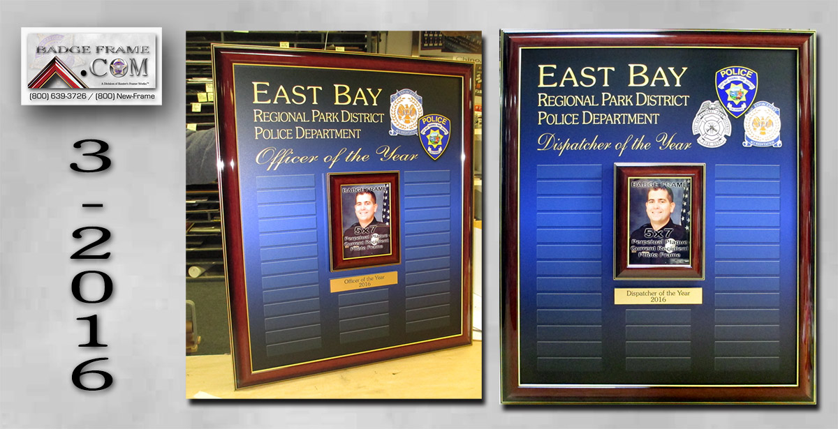 Badge Frame, Perpetual Plaques, East Bay,                         Dispatcher of the Year