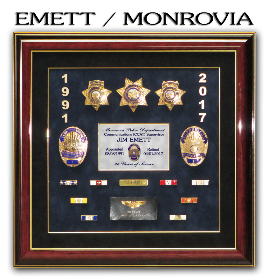 Emett / Monrovia PD Police Retiement Presentation from Badge Frame