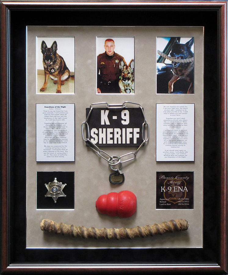 K-9 Memorial for ENA - Benzie County Sheriff from Badge Frame