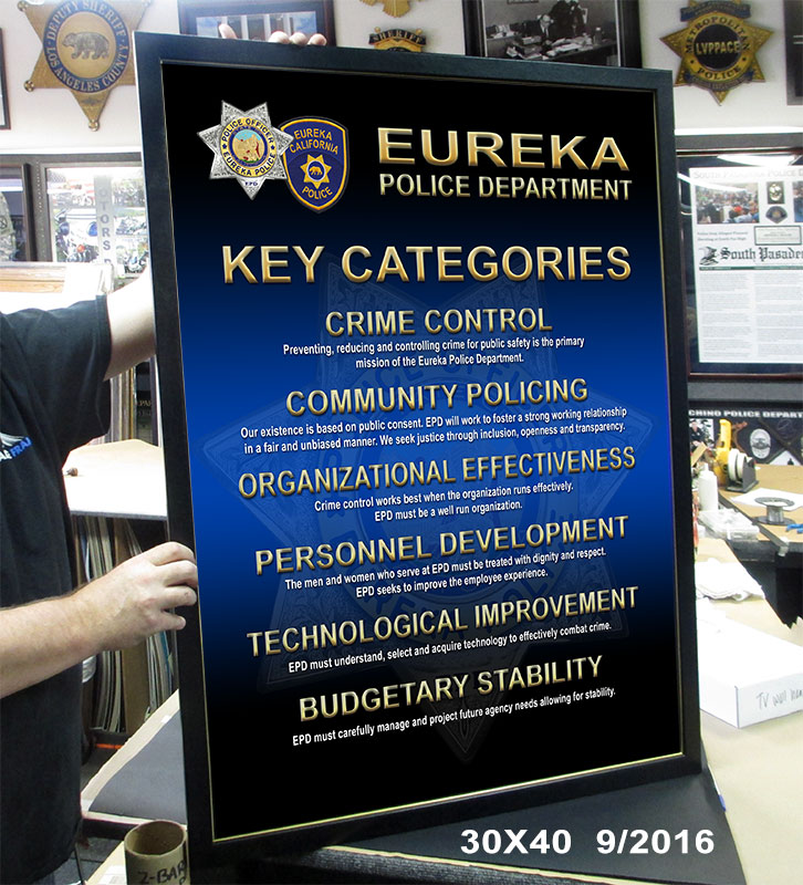 Eureka PD Sign fro Badge Frame