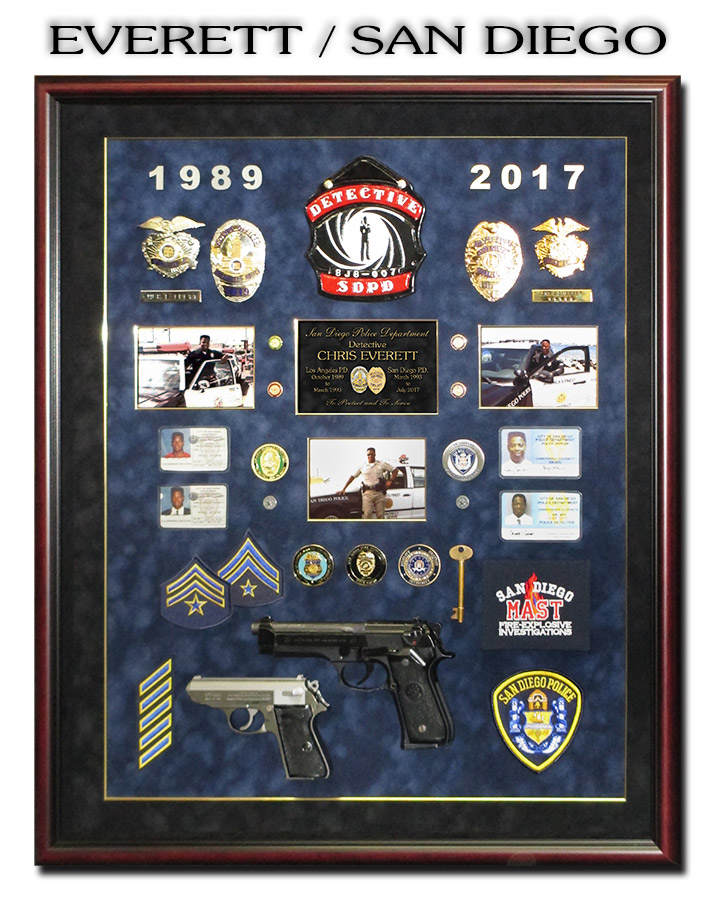 Everett /             Sqan Diego PD Police Retirement Shadowbox from Badge Frame